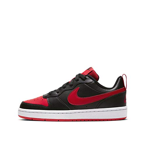 Nike Unisex Kinder Court Borough Low 2 (GS) Sneaker, Black/University Red-White, 36 EU