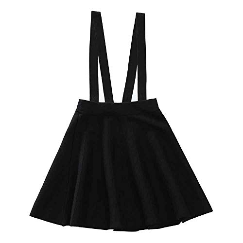 Girl's Kids Solid Knit Flare A Line Mini Suspender Skirt Black Tag 150 (10 Years)