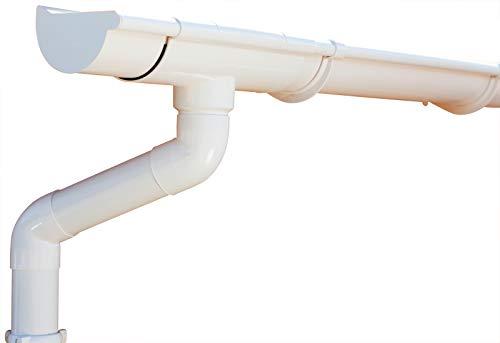 Dachrinnen/Regenrinnen Set | Pultdach (1 Dachseite) | Extra100 | in anthrazit, weiß, braun oder schwarz! (Komplettes Set bis 8.75 m, Weiß)