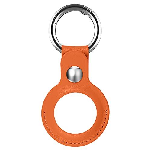Diruite Funda protectora de piel para Apple AirTag resistente a arañazos, lavable, resistente al sudor, cierre de llave, anillo, para Apple AirTag, funda de piel de color naranja