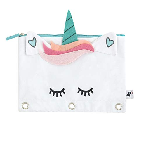 Yoobi Binder Zipper Pouch | Unicorn Design | Perfect for 3-Ring Binder Organization & Storage