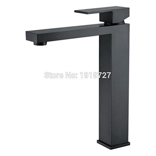 AllureFeng Die neue ultra-modernem Design einzigen Handgriff Alba schwarzes Quadrat Qualität aus massivem Messing Top-Waschtischmischer Seide hohe Monolith