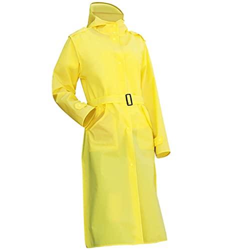 MMAXZ Adulto lungo impermeabile donna cappotto da pioggia impermeabile con cappuccio for escursioni all'aperto for escursioni for la pesca da pesca in bicicletta (Color : Yellow, Size : Large)