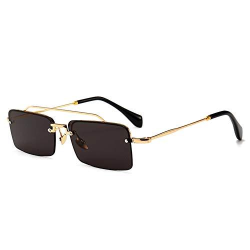 BAN SHUI JU MINSU GUANLI Schmaler Rahmen Moderne Retro quadratische Sonnenbrille Street Shoot Model Catwalk Sonnenbrille Geeignet Für Alle Gelegenheiten (Color : C1 Gold Frame Gray Piece)