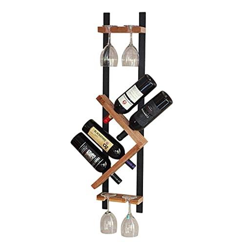 Estante para vinos de encimera Estante para vinos 4 botellas de hierro forjado Madera maciza Estante para botellas de vino montado en la pared Portavasos Decoración colgante Cocina creativa Bar Sala
