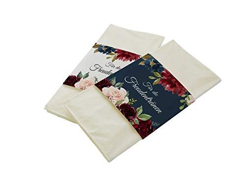 50 Stück Papierbanderolen Freudentränen Taschentücher Hochzeit Bordeaux & Blue (Banderolen mit Klebepunkte)