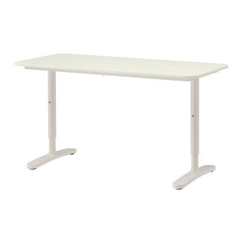 IKEA BEKANT Schreibtisch in weiß; mit weißem Gestell; höhenverstellbar; (140x60cm)