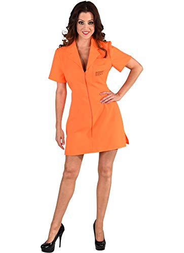 narrenkiste M219132-XL - Disfraz de prisoner para mujer, color naranja, talla XL = 48