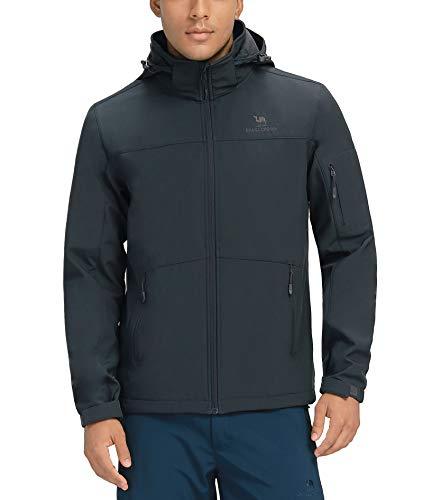 CAMELSPORTS Men's Waterproof Softshell Jacket Hooded Fleece Lined Rain Coat Windproof Lightweight Windbreaker Grey