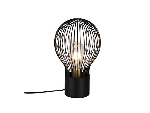 Designklassiker - Schwarze Gitter Tischleuchte LED aus Metall im Retro Look Ø19cm 32cm hoch