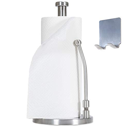Dearworth Paper Towel Holder Stand-Stainless Steel Dispenser- Easy to Tear Kitchen Bathroom Countertop-Weighted Base-Sturdy Spring Arm for Standard Rolls Size –Come with M3 Self-adhesive Wall Hook