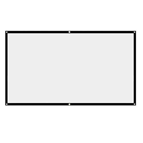 POHOVE Pantalla de proyector, 16:9 HD, plegable, antiarrugas, color blanco, pantalla de proyección, pantalla de películas, para cine en casa, soporte interior, proyección de doble cara
