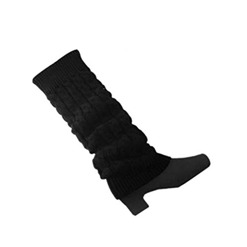 Damen Geflochtene Strick Stulpen Socken Schwarz Damen Strick Leggings Warme Beinsocken Schwarz 1 Paar