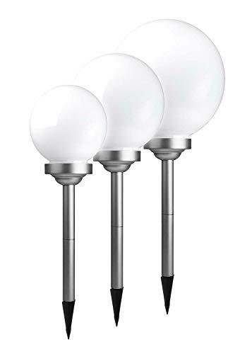 50 cm Ø XXL Solar Kugel Kugelleuchte / 4 LED Erdspieß Akku 114cm Lichtsensor