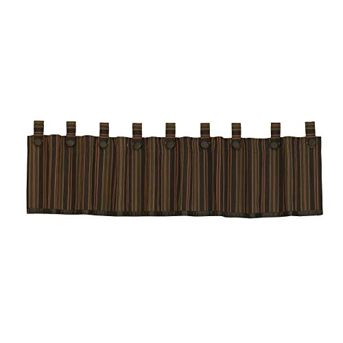 HiEnd Accents Wilderness Ridge Lodge Striped Tab-Top Window Curtain Valance, 18' x 84', Chocolate, Tan, Burgundy & Olive