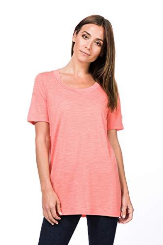 Super.Natural T-Shirt Long et Oversize pour Femme avec Laine mérinos XS Georgia Peach Melange.