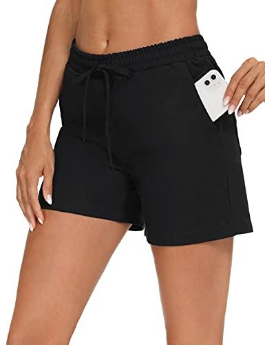 Akalnny Pantaloncini Corti Donna Sportivi Cotone Pantaloni Pigiama Corti Donna da Casa Casual Shorts Estivi per Sport Casual Yoga Jogger Fitness Pigiama