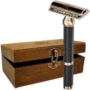 Safety Razor – Premium Double Edge Safety Razors for Men's Shaving, Three Piece Single Blade Razor for Men & Women, Solid Brass Handle DE Razor, Suits Double Edge Razor Blades, Gifts for Mens Shave