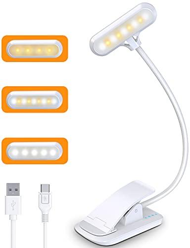 Cocoda Leselampe Buch Klemme, 9 LED Buchlampe mit 3 Farbtemperatur, USB Wiederaufladbar, Dimmbar Augenschutz Leselampe Bett, Touch Schalter, 360° Flexibel Led Klemmleuchte für Keyboard, Büro, Buch