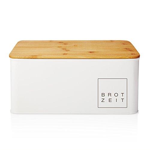 Lumaland Cuisine Brotkasten Brotbox aus Metall mit Bambus Deckel, Brotbehälter rechteckig, ca. 30,5 x 23,5 x 14 cm