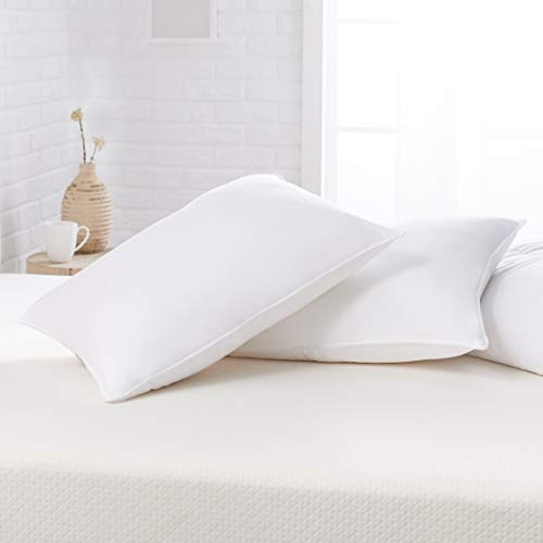 AmazonBasics Down Alternative Bed Pillows - Firm Density, Standard, 2-Pack