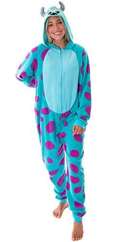 Disney Monsters Inc. Womens' Sulley Fleece Cosplay Costume Union Suit Pajama (L/XL) Blue
