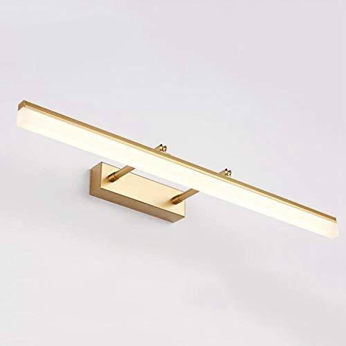 BABYCOW Espejo luz Delantera Espejo baño luz del gabinete Espejo retráctil antivaho Impermeable 180 u0026 Grados; Espejo rotación luz luz cáli(Color: Dorado) 50cm 12W