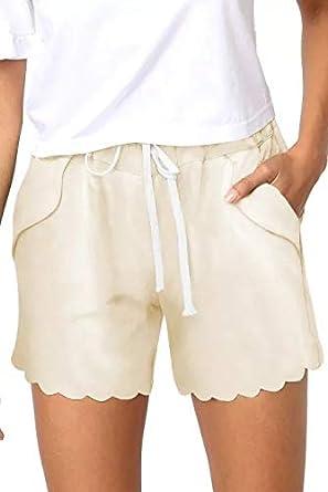 KISSMODA Womens Summer Sports Pants Solid Color Casual Elastic Waist Shorts
