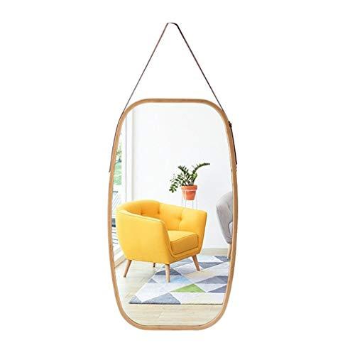 Gcgg Miroir mural à suspendre sur toute la longueur, avec sangle réglable en simili cuir, cadre en bambou, miroir de salle de bain