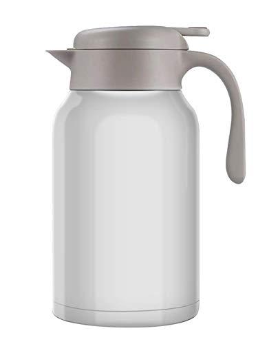 Luvan Thermoskanne 304 Edelstahl Doppelwand Vakuum Isolierte Kaffee Topf Kaffee Thermos, Kaffee Plunger, Saft/Milch/Tee Isolierung Topf (Weiß, 2.0L)