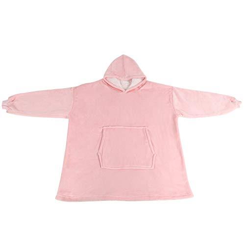 Franela Sleepwr Sudadera con Capucha Manta cálida Manta usable de tamaño Libre Mantener Caliente para la Sala de Estar(Pink)