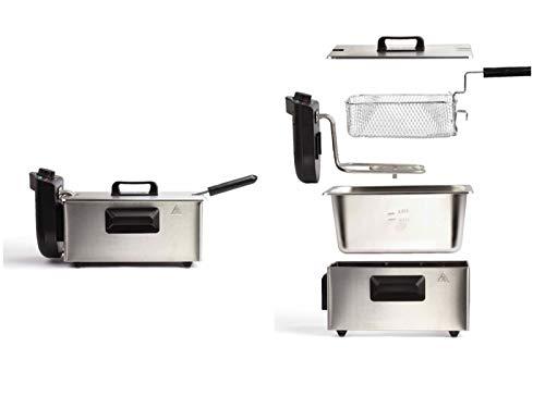 Fritteuse mit Öl 2000 Watt Friteuse 3 Liter Geruchsfilter Edelstahl (Großer Frittierkorb, Thermostat, Überhitzungsschutz, Abnehmbarer Griff)