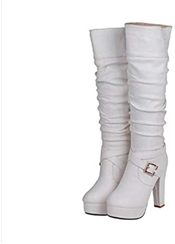 IWxez Stiefel de Moda para damen PU (Poliuretano) Stiefel de Invierno Tacón de Aguja Punta Cerrada Stiefel Sobre la Rodilla Weiß schwarz