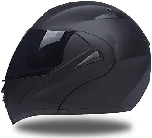 Casco Integrale Moto, Casco Modular Moto Scooter Motorino Caschi Integrali Donna Uomo con Doppia Visiera Parasole, Nero Opaco, con Visiera Parasole