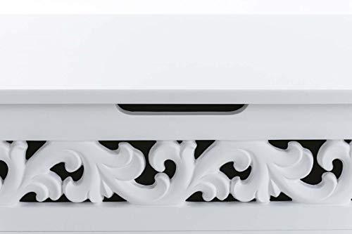 CLP Truhenbank Millie mit aufklappbarem Deckel   Sitzbank im Landhausstil   Wäschetruhe mit floralen Elementen im Landhausstil, Farbe:weiß - 6