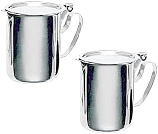 TWO COMMERCIAL STAINLESS STEEL CREAMERS - FLAT STACKABLE LID