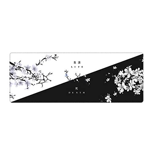 Black White Cherry Blossom Mouse Pad Japanese Sakura Death Life Flower Extended Desk Mat 80X30 cm Non-Slip Rubber Base Stitched Edge Large XL Playmat for Keyboard Gaming Laptop Desktop,31.5×11.8 Inch