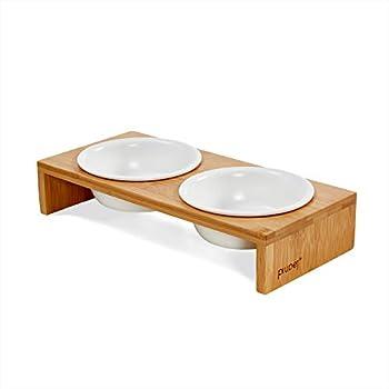 PiuPet® Cat Bowl Bowl pour Chats et Petits Chiens - Bol à Nourriture pour Chat avec Cadre en Bambou élégant - Station d'alimentation surélevée pour Chats - Barre pour Chat (2 Bols)