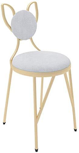 JJSFJH Gambe in Metallo Living Sedia della Sala, Sedia in Legno massello, Sedie da Cucina, Poltrona, Sedia del Salone (Color : White)