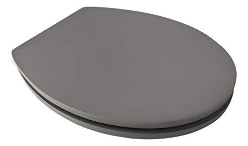 Calmwaters® WC Sitz Grau mit Absenkautomatik, Fast-Fix-Befestigung aus Metall, universale O-Form, stabiler Holzkern Toilettendeckel, samtene Oberfläche, Soft Touch, Klodeckel Anthrazit, 26LP5387