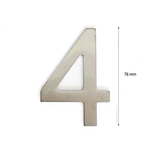 Hausnummer, Tür- oder Hausnummer, in Ziffer 0, aus Edelstahl Glänzendes Silber, mit Klebefolie, 76 mm hoch (4)