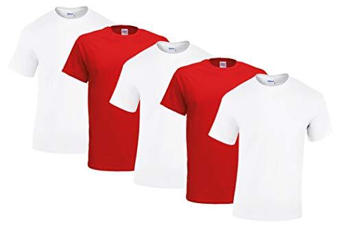Gildan 5 Stück Heavy Cotton T-Shirt Herren Shirt S - 3XL Schwarz Weiß (XL, 3Weiss/2Rot)