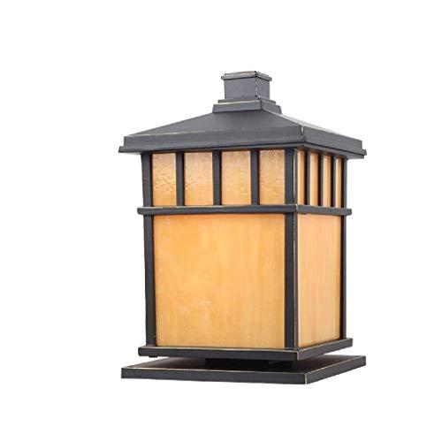 SPNEC Outdoor Waterproof Patio Post Lamp External Square Pillar Column Light Lantern Antirust Rainproof Glass Lampshade Porch Streetlight