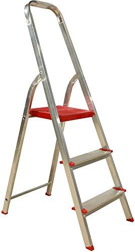 Escalera Plegable de 3 peldaños de Aluminio, Ideal para Uso en casa,...