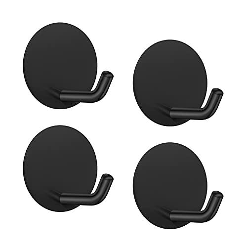 4 ganchos autoadhesivos de pared LJLink, color negro, para toallas, llaves, abrigos, ganchos de acero inoxidable, sin taladro, sin tornillos, ganchos para puerta para baño, cocina, armario, redondo