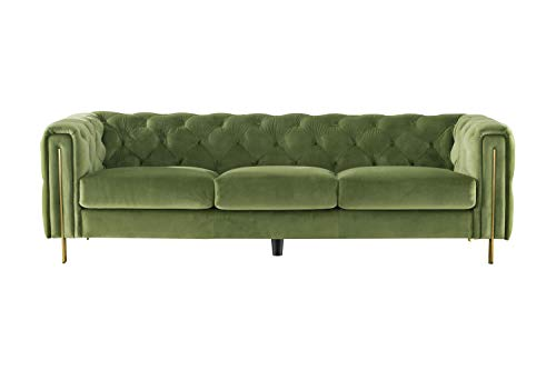 """Acanva Collection Chesterfield Vintage Tufted Velvet Living Room Sofa, 96""""W Couch, Mint Green"""
