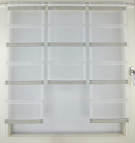 Gardinen Röttger Miniflächen-Set Organza braun quer gestreift Scheibengardine