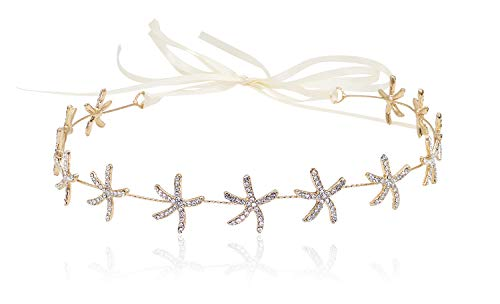 Bienvenu Women's Girl's Starfish Handband Gold Crystal Jewelry Crown Bridal Wedding Hair Accessories,Gold