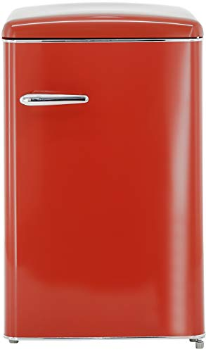 Exquisit RKS 120-16 RVA++ Retro-Kühlschrank/EEK: A++/121 Liter/Retro-Handgriff/LED-Innenbeleuchtung