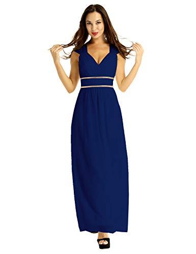 iEFiEL Damen Vintage Kleid V-Ausschnitt ärmellosen Cocktailkleid Maxi Chiffon Griechische Göttin Partykleid Brautjungfernkleid Elegant Marineblau 34